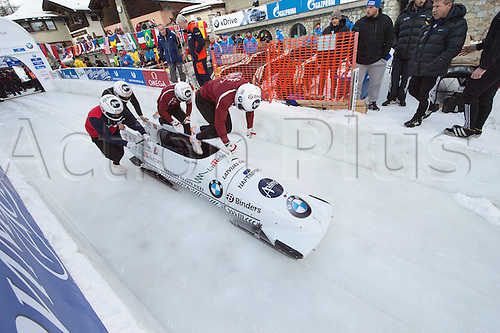 05.02.2016. St Moritz, Switzerland. FIBT 4-Man bobsleigh world championships. Practise day.  Ugis Zalims (LAT) leads his team down the course