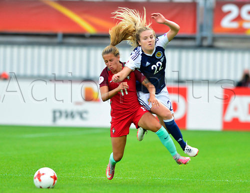 July 23rd 2017, Sparta Stadion, Rotterdam, Netherlands; Womens Euro 2017 Finals, Group D Match; Scotland versus Portugal; Fiona Brown is taken out by Tatiana Pinto