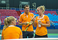 Moskou, Russia, Februari 4, 2016,  Fed Cup Russia-Netherlands,  Dutch team practise,  Captain Paul Haarhuis (M) with Kiki Bertens and Richel Hogenkamp (R)<br /> Photo: Tennisimages/Henk Koster
