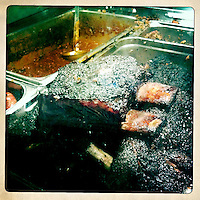 Beef ribs at Fette Sau, Williamsburg, Brooklyn, NY Images are available for editorial licensing, either directly or through Gallery Stock. Some images are available for commercial licensing. Please contact lisa@lisacorsonphotography.com for more information.