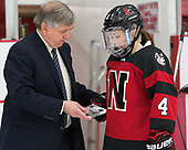 Joe Bertagna, Codie Cross (NU - 4) -  The Boston College Eagles defeated the Northeastern University Huskies 2-1 in overtime to win the 2017 Hockey East championship on Sunday, March 5, 2017, at Walter Brown Arena in Boston, Massachusetts.