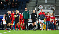 20191112 - LEUVEN , BELGIUM : Referees, Belgian and Lithunian team players pictured entering the pitch before the female soccer game between the Belgian Red Flames and Lithuania , the fourth womensoccer game for Belgium in the qualification for the European Championship round in group H for England 2021, Tuesday 12 th November 2019 at the King Power Stadion Den Dreef in Leuven , Belgium. PHOTO SPORTPIX.BE | SEVIL OKTEM