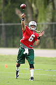 May 2, 2009:  Quarterback Mark Sanchez (6) of the New York Jets during afternoon practice on day two of the New York Jets Rookie Minicamp at the Atlantic Health Jets Training Center in Florham Park, NJ.  Copyright Mike Janes Photography 2009