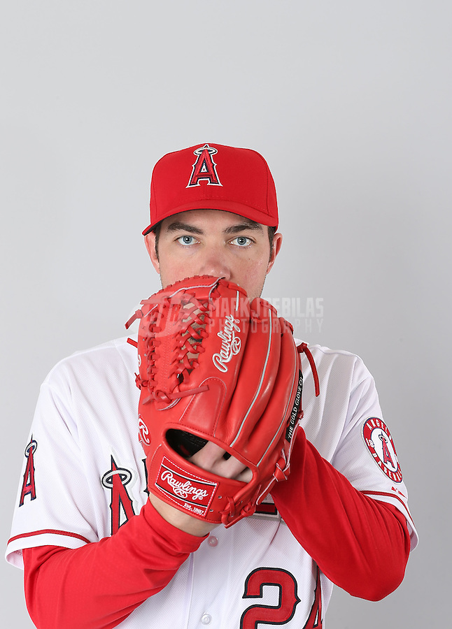 Feb. 21, 2113; Tempe, AZ, USA: Los Angeles Angels pitcher Sean Burnett poses for a portrait during photo day at Tempe Diablo Stadium. Mandatory Credit: Mark J. Rebilas-