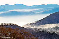 Winter view of southern Appalachian Mountains,<br /> Great Smoky Mountains National Park, TN