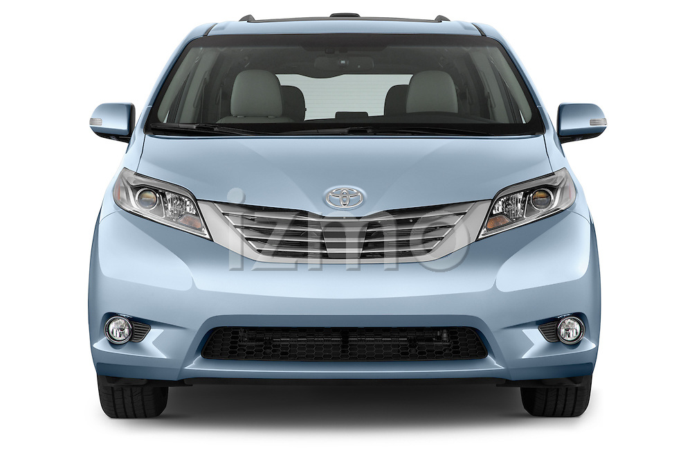Car photography straight front view of a 2017 Toyota Sienna Limited 5 Door Minivan Front View