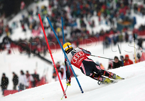 22.01.2012. Kitzbuehel, Austria. Ivica KOSTELIC (CRO) competing during the first run of the Alpine Ski World Cup Hahnenkamm Slalom