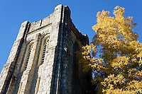 Ryerson United Church and golden leafed autumn tree, Kerrisdale, Vancouver, BC, Canada