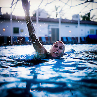 Joan Kulpa practices a routine with the Aquadettes at Laguna Woods, California. The Aquadettes are a group of women ageing from their early 60s upwards who meet to practice synchronised swimming. Every year, they practice together, they make costumes together, they swim together, and at the end, they perform together.