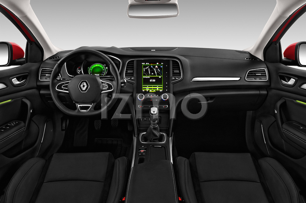 Stock photo of straight dashboard view of 2016 Renault Megane-Grandtour Bose-Edition 5 Door wagon Dashboard