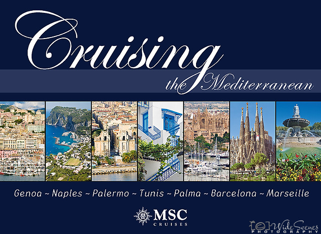 Cruising the Mediterrannean:  Genoa, Naples, Palermo, Tunis, Palma, Barcelona, Marseille - Souvenir pictorial book, 80 pages, hard cover with full colour images that sell onboard vessels operated by MSC Cruises and follow the specific itinerary. Text in English, Italian, French, German, Spanish.<br />