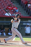 Ryan Lollis #25 of the San Jose Giants bats against the High Desert Mavericks at Heritage Field on August 31, 2014 in Adelanto, California. High Desert defeated San Jose, 9-6. (Larry Goren/Four Seam Images)