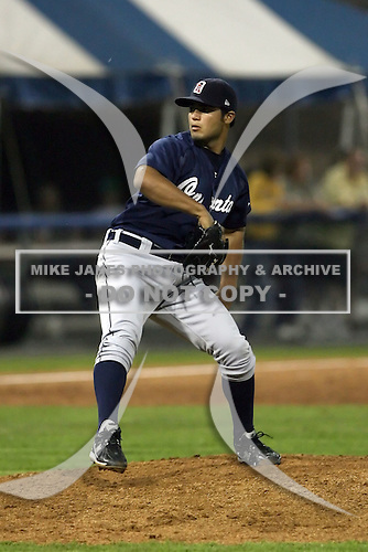 July 23 2008:  Pitcher Aaron Fuhrman of the Oneonta Tigers, Class-A affiliate of the Detroit Tigers, during a game at Dwyer Stadium in Batavia, NY.  Photo by:  Mike Janes/Four Seam Images