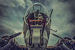 Close up of WWII USAF B17 bomber aeroplane with front gun turret