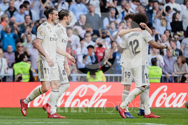 Real Madrid's Gareth Bale (L) and Sergio Ramos (R) celebrate goal during La Liga match between Real Madrid and Real Club Celta de Vigo at Santiago Bernabeu Stadium in Madrid, Spain. March 16, 2019. (ALTERPHOTOS/A. Perez Meca)