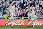 Real Madrid's Gareth Bale (L) and Sergio Ramos (R) celebrate goal during La Liga match between Real Madrid and Real Club Celta de Vigo at Santiago Bernabeu Stadium in Madrid, Spain. March 16, 2019. (ALTERPHOTOS/A. Perez Meca)