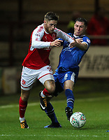 Fleetwood Town's Wes Burns competing with Carlisle United's Mike Jones  <br /> <br /> Photographer Andrew Kearns/CameraSport<br /> <br /> The Carabao Cup First Round - Fleetwood Town v Carlisle United Kingdom - Tuesday 8th August 2017 - Highbury Stadium - Fleetwood<br />  <br /> World Copyright &copy; 2017 CameraSport. All rights reserved. 43 Linden Ave. Countesthorpe. Leicester. England. LE8 5PG - Tel: +44 (0) 116 277 4147 - admin@camerasport.com - www.camerasport.com