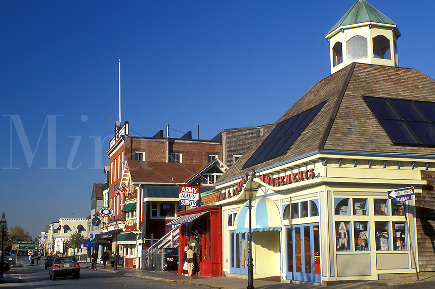 Newport, RI, Rhode Island, Shops along Thames Street in downtown Newport in the autumn.
