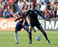 Santa Clara, California - Sunday May 13th, 2012: Jose Erick Correa of Chivas USA defending Justin Morrow of San Jose Earthquakes 1- 1 during a Major League Soccer match at Buck Shaw Stadium