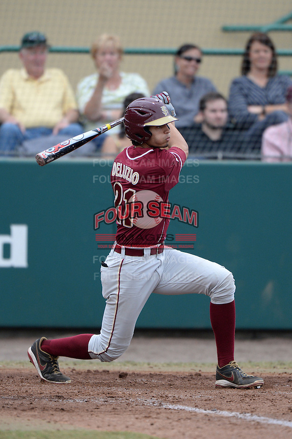 Florida State Seminoles outfielder Ben DeLuzio (21) during a game against the South Florida Bulls on March 5, 2014 at Red McEwen Field in Tampa, Florida.  Florida State defeated South Florida 4-1.  (Mike Janes/Four Seam Images)