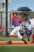 Randy Guzman (7) during the Dominican Prospect League Elite Florida Event at Pompano Beach Baseball Park on October 14, 2019 in Pompano beach, Florida.  (Mike Janes/Four Seam Images)