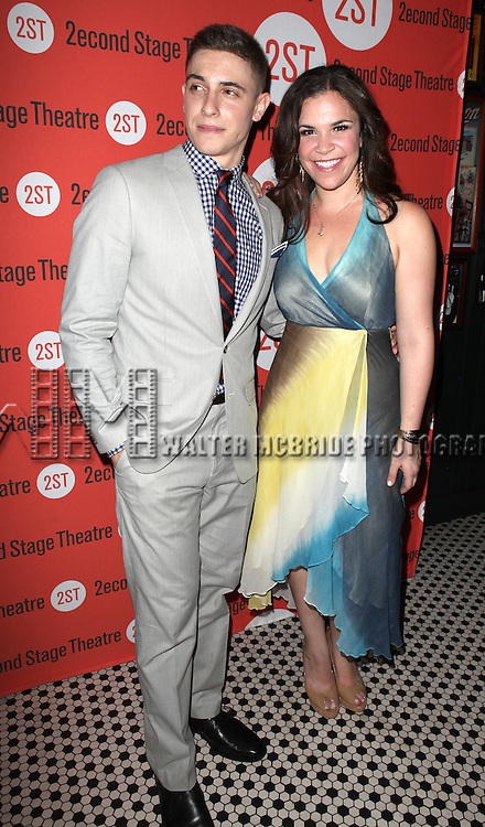 Derek Klena & Lindsey Mendez.attending the after Party for Off-Broadway Opening Night Performance of Second Stage Theatre's 'Dogfight' at HB Burger in New York City.