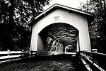 Black and white of covered Hannah bridge in Oregon