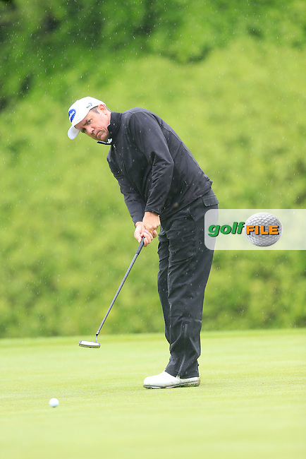 Scott Hend (AUS) putts on the 17th green during Thursday's Round 1 of the 2016 Dubai Duty Free Irish Open hosted by Rory Foundation held at the K Club, Straffan, Co.Kildare, Ireland. 19th May 2016.<br /> Picture: Eoin Clarke | Golffile<br /> <br /> <br /> All photos usage must carry mandatory copyright credit (&copy; Golffile | Eoin Clarke)