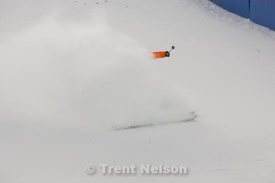 Trent Nelson  |  The Salt Lake Tribune.Swedish skier Olle Daunfeldt slides to a stop as skiers test out the moguls course at the FIS Freestyle World Cup at Deer Valley, Wednesday, January 13, 2010.