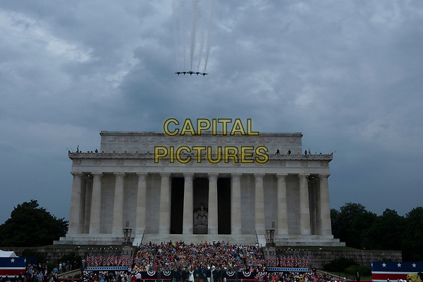 United States President Donald J. Trump delivers remarks at his Salute to America event in Washington D.C. on July 4, 2019.  The event included a flyover of Air Force One, the Blue Angels, and military aircraft representing each branch of the military.<br /> CAP/MPI/CNP<br /> ©CNP/MPI/Capital Pictures