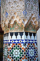 Arabesque Moorish plasterwork column capitals of the Dar Jamai Museum  a typical dwellings of high Moroccan bourgeoisie at the end of XIX century. located in the old Medina built by Mohamed Ben Larbi Jamai grend vizier of Sultan Moulay Hassan (1873-1894). Meknes, Morocco