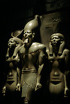 Egypt's Old Kingdom; Menkaura Triad, Pharaoh Menkaure with two Godesses, Egyptian Museum, Cairo,  Egypt