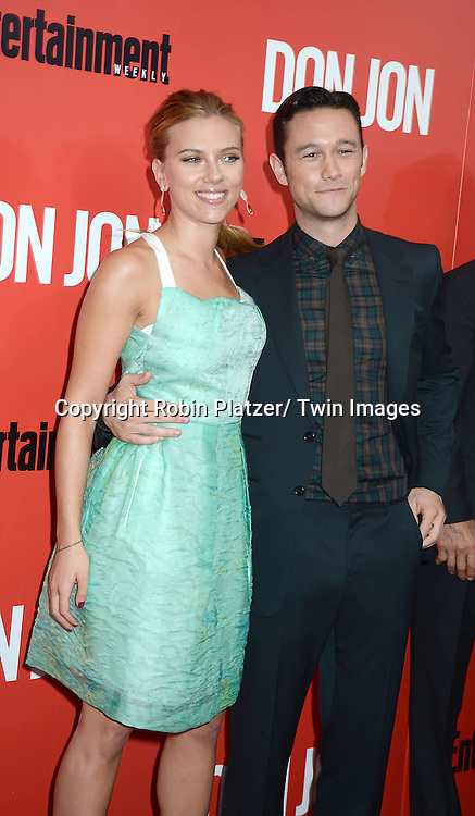 "Scarlett Johansson and Joseph Gordon-Levitt  attend the ""Don Jon"" New York Movie Premiere on September 12, 2013 at the SVA Theatre in New York City."