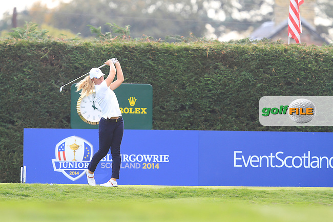 Linnea Strom (SWE) on the 15th tee of the Mixed Fourballs during the 2014 JUNIOR RYDER CUP at the Blairgowrie Golf Club, Perthshire, Scotland. <br /> Picture:  Thos Caffrey / www.golffile.ie