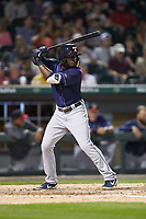 Daz Cameron (10) of the Toledo Mud Hens at bat against the Charlotte Knights at BB&T BallPark on April 24, 2019 in Charlotte, North Carolina. The Knights defeated the Mud Hens 9-6. (Brian Westerholt/Four Seam Images)