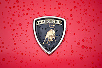 Badge Logo of Lamborghini Countach 5000 Quattro Valvole sports car built 1988 at classic car rally at Brize Norton in Oxfordshire, UK