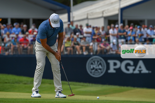Jason Day (AUS) watches his putt on 9 during 4th round of the 100th PGA Championship at Bellerive Country Club, St. Louis, Missouri. 8/12/2018.<br /> Picture: Golffile   Ken Murray<br /> <br /> All photo usage must carry mandatory copyright credit (© Golffile   Ken Murray)