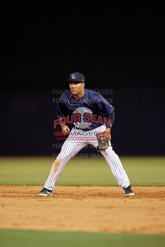 Tampa Tarpons second baseman Wendell Rijo (12) during a Florida State League game against the Daytona Tortugas on May 17, 2019 at George M. Steinbrenner Field in Tampa, Florida.  Daytona defeated Tampa 8-6.  (Mike Janes/Four Seam Images)