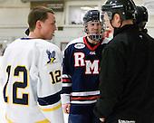 Ryan Kayfes (Bentley - 12), Trevor Lewis (RMU - 10) - The Bentley University Falcons defeated the visiting Robert Morris University Colonials 2-1 on Friday, January 6, 2012, at the John A. Ryan Skating Arena in Watertown, Massachusetts.