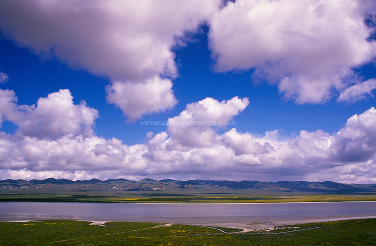 Soda Lake, a 3,000 acre seasonal alkali lake in the Carrizo Plain; roughly 50 miles (80 km) long and up to 15 miles (24 km) across. Contains the 250,000 acre (1,012 km²; 101,215 ha) Carrizo Plain National Monument (Est. 1/17/2001), largest single native grassland (San Joaquin Valley biogeographic province) remaining in California. Temblor Range in background. San Luis Obispo County, CA.