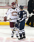 Pat Mullane (BC - 11), Andrew Miller (Yale - 17) - The Boston College Eagles tied the visiting Yale University Bulldogs 3-3 on Friday, January 4, 2013, at Kelley Rink in Conte Forum in Chestnut Hill, Massachusetts.