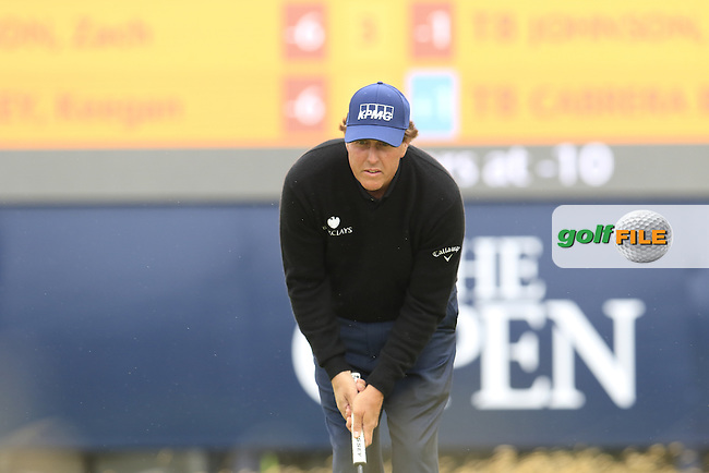 Phil Mickelson (USA) lines up his putt on the 2nd green during Saturday's Round 3 of the 145th Open Championship held at Royal Troon Golf Club, Troon, Ayreshire, Scotland. 16th July 2016.<br /> Picture: Eoin Clarke | Golffile<br /> <br /> <br /> All photos usage must carry mandatory copyright credit (&copy; Golffile | Eoin Clarke)