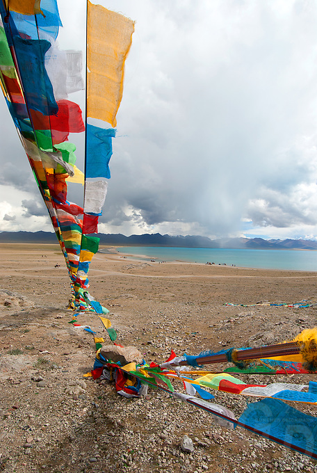 Prayer Flags at Lake Namtso, a Holy Lake for Tibetans at an elevation of 4800 meters and the highest saltwater lake in the world.