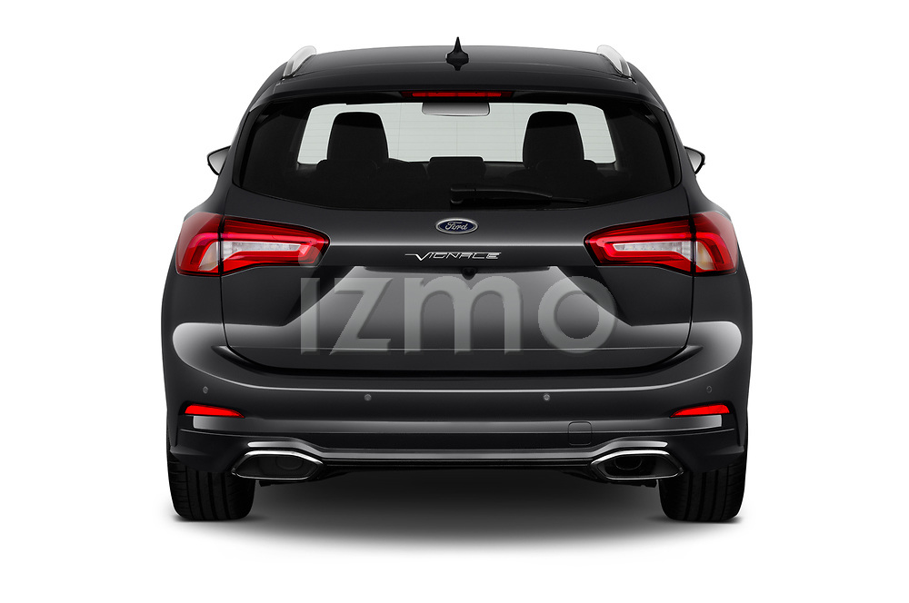 Straight rear view of 2019 Ford Focus-Clipper Vignale 5 Door Wagon Rear View  stock images