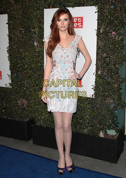 Alyssa Campanella.The Grand Opening of Planet Dailies and Mixology 101 held at the Grove at the Farmers Market, Los Angeles, California, USA..5th April 2012.full length white pink blue print dress hand on hip sleeveless .CAP/ADM/SP/JO.©James Orken/Starlitepics/AdMedia/Capital Pictures.