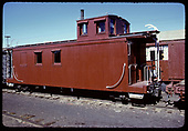 3/4 view of newly painted caboose.<br /> D&amp;RGW