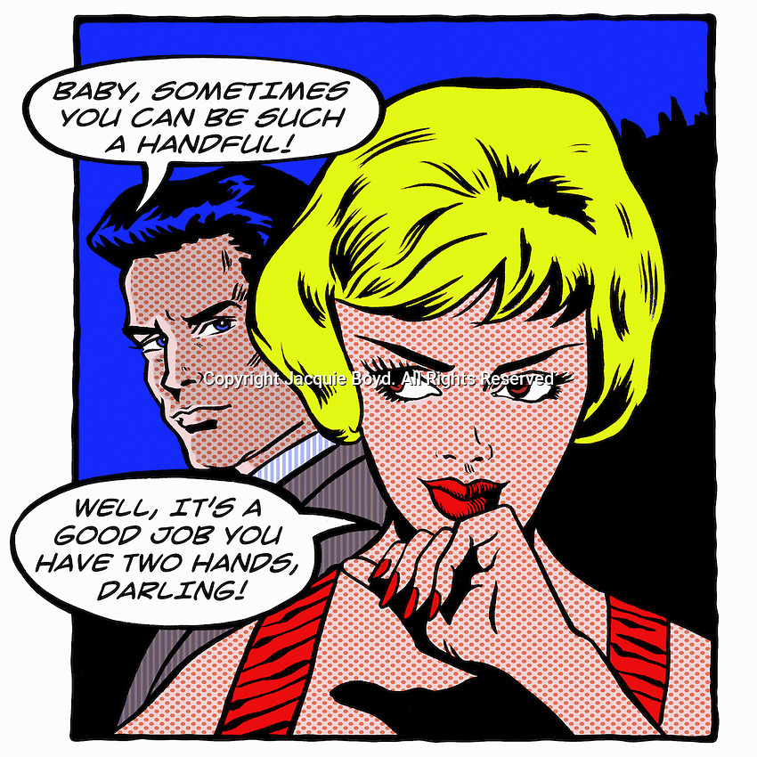 Pop art comic of man complaining about his girlfriend ExclusiveImage