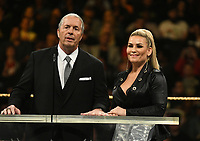 NEW YORK, NY - APRIL 6: Brett Hart and Natalya Neidhart at the 2019 WWE Hall Of Fame Ceremony at the Barclay's Center in Brooklyn, New York City on April 6, 2019.      <br /> CAP/MPI/GN<br /> ©GN/MPI/Capital Pictures