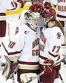 Molly Schaus (BC - 30), Blake Bolden (BC - 10), Danielle Welch (BC - 17) - The Boston College Eagles defeated the visiting Northeastern University Huskies 2-1 on Sunday, January 30, 2011, at Conte Forum in Chestnut Hill, Massachusetts.