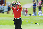 Wales Sir Gareth Edwards looks away after narrowly missing his putt<br /> <br /> Golf - Day 1 - Celebrity Cup - Saturday 4th July 2015 - Celtic Manor Resort  - Newport<br /> <br /> &copy; www.sportingwales.com- PLEASE CREDIT IAN COOK